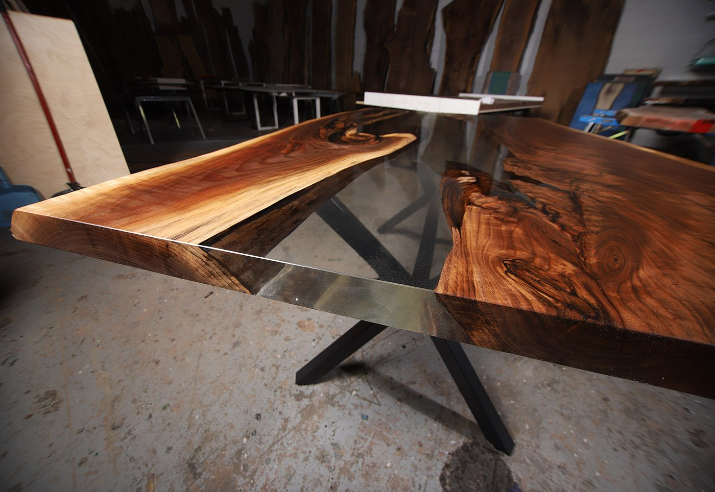 Live Edge Walnut Kitchen Table With Clear Epoxy River