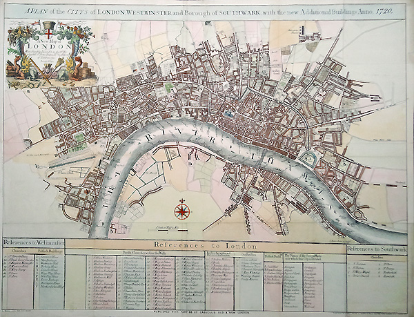 19th century Map of London Westminster and Southwark  Weller circa 1880 Antique City map of London