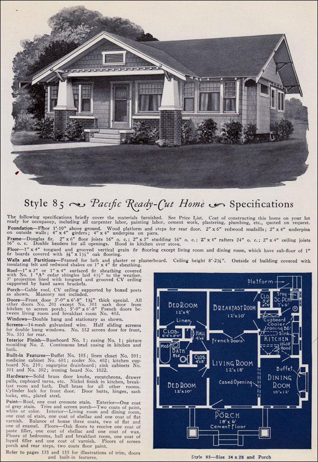 California Craftsman Style Bungalow No 85 1925