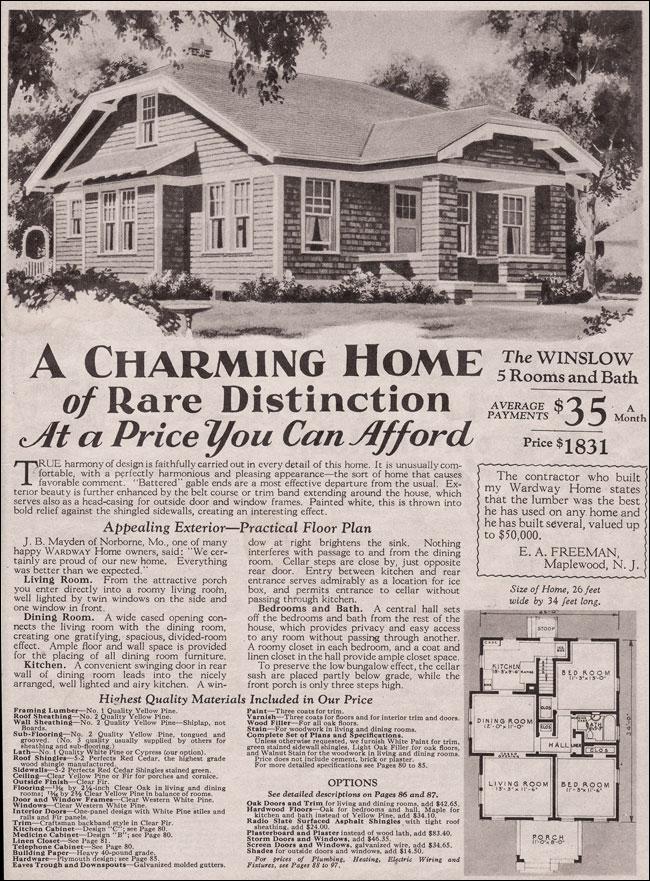 1930 Montgomery Ward Winslow Bungalow Cottage