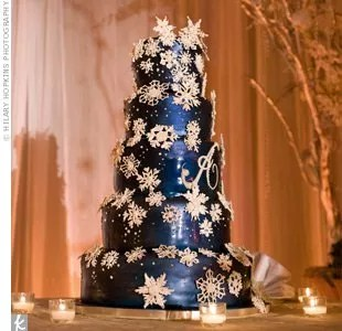 Snowflake Wedding Cake All five tiers of the dark blue cake received a dusting of edible snowflakes  in