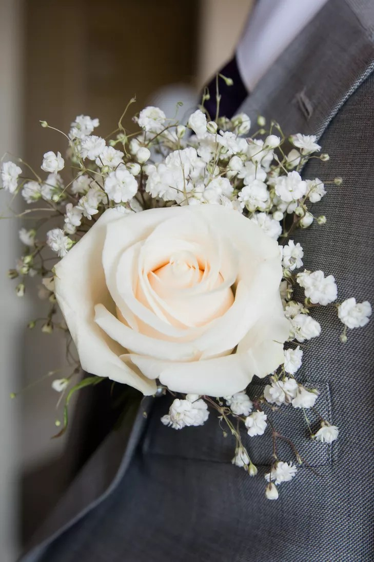 Ivory Baby S Breath And Rose Boutonniere