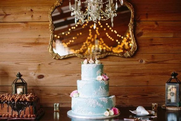 Country Wedding Cakes Pale Blue Three Tier Wedding Cake