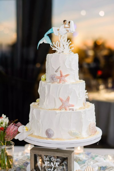 Modern Wedding Cakes Beach Themed Wedding Cake With Mermaid Cake Topper