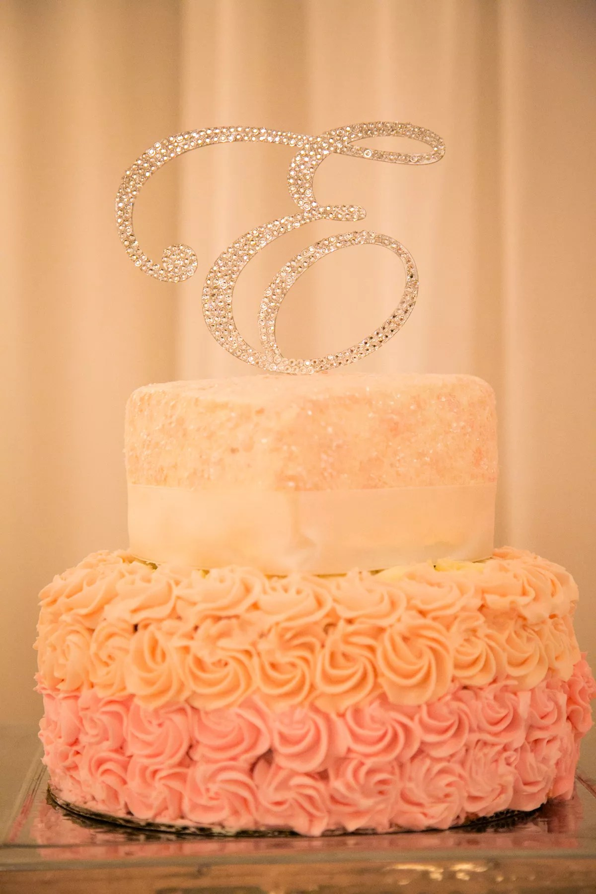 Pink Peach And Ivory Wedding Cake