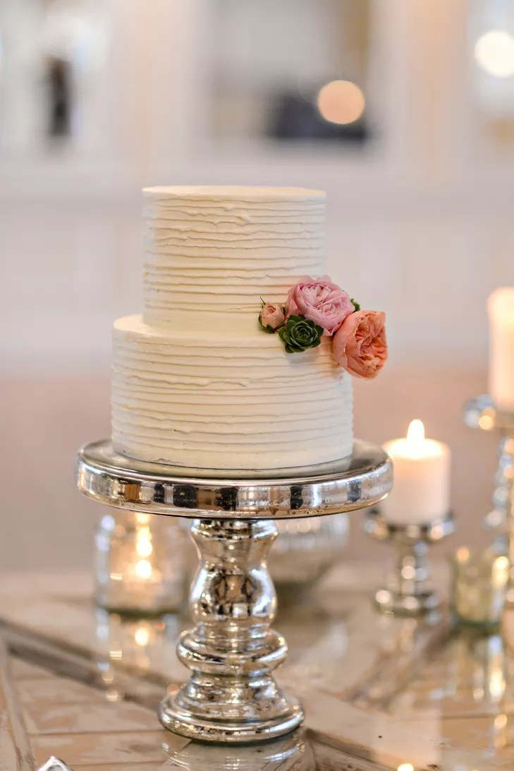 Two Tier Wedding Cake with Mercury Glass Cake Stand