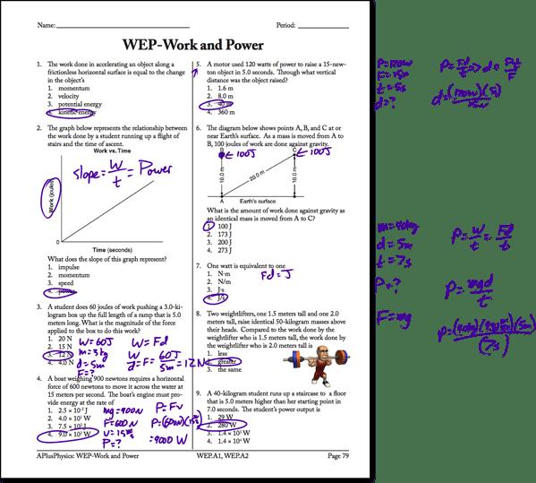 Physics Worksheet Energy Work Power 11 Answers