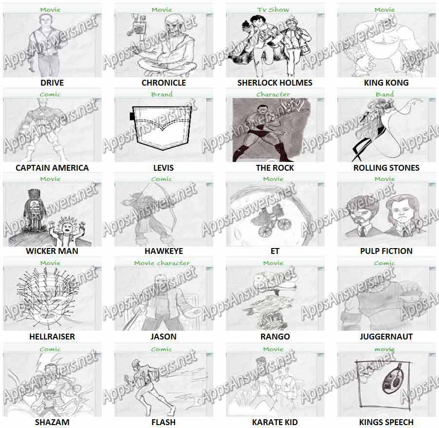 Guess The Drawing Level 121 – Level 140 Answers   Apps ...