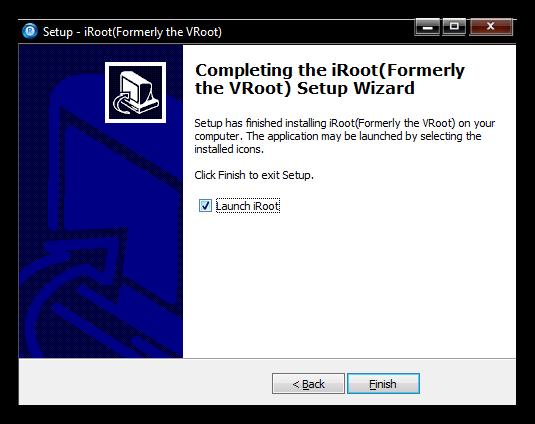Завершение установки VRoot (iRoot) на компьютер