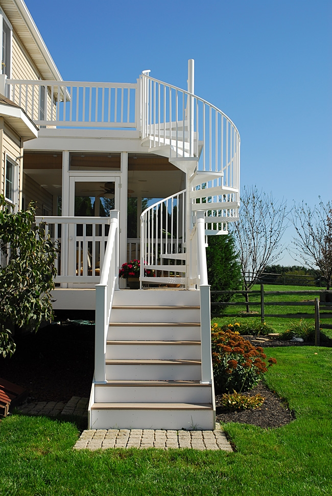 White Spiral Stairs For Deck And Screen Room Photo By Salter | Spiral Staircase Outdoor Deck | Log | Portable Rectangular Concrete | Metal | Porch | Black