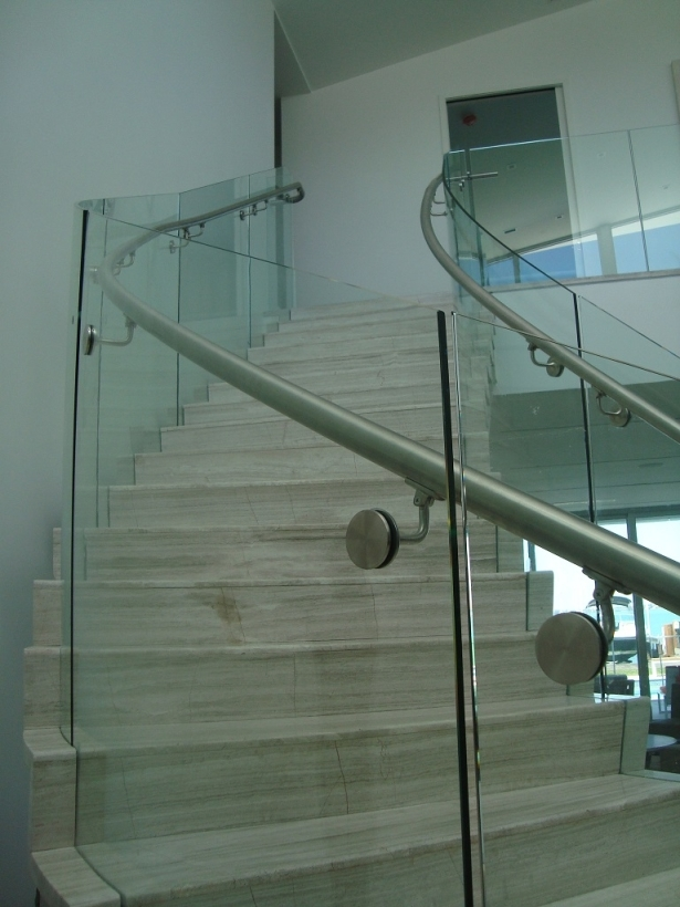 Frameless Curved Glass Railings In Residential Home Bella Stairs | Glass Staircase Panels Near Me | Modern Staircase Railing | Tempered Glass | Wood | Stair Balustrade | Stair Case