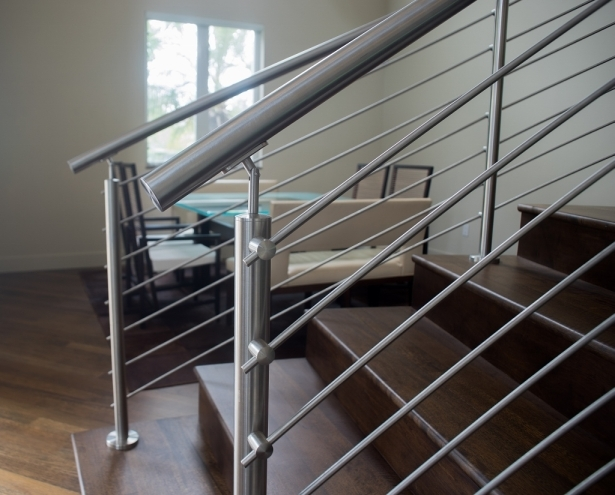 Curved Stainless Steel Rod Railings Bella Stairs Llc Archinect   Steel Railing For Steps   Modular   Wooden   Terrace   Modern Farmhouse   Loha
