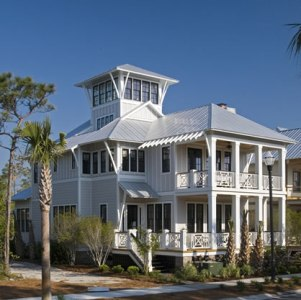 Coastal Beach House Plans   4 Bedrooms   4 Covered Porches Coastal Delight Beach House