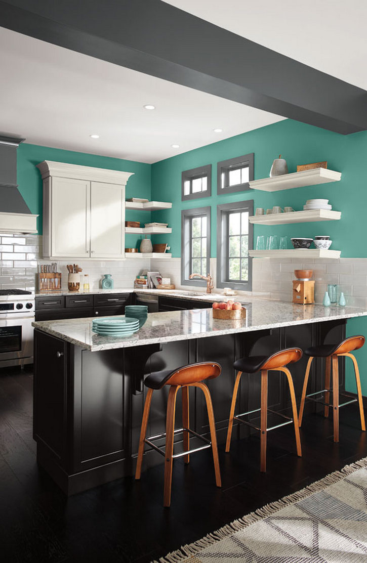 Awesome Kitchen Colors Combining Black And White Cabinetry With     Awesome Kitchen Colors Combining Black And White Cabinetry With Bright Blue  Green Walls