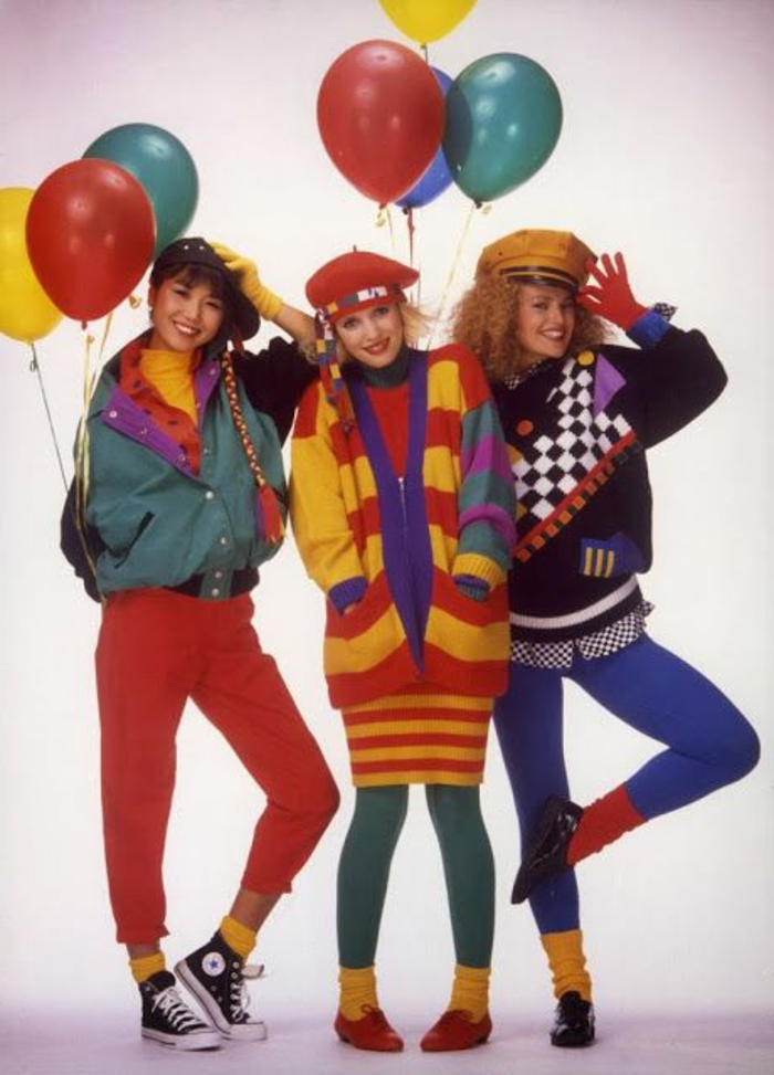 1001   Ideas for 80s Fashion Inspired Outfits that Will Get You     throwback outfits  three smiling young women in bright clothes  red pants  green and blue 80s Fashion     Total Disaster or Genius Style