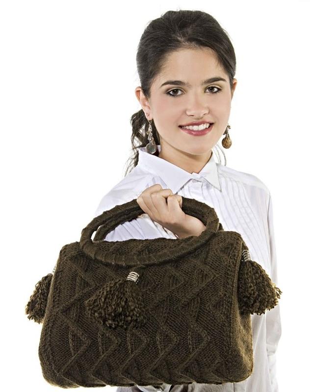 Beg dengan merajut dengan gambar rajah dan penerangan, kelas induk dengan foto dan video