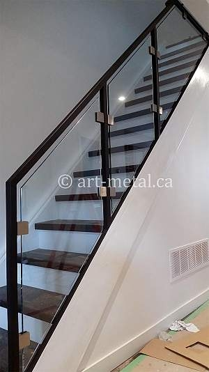 Modern Stair Railing Designs From Metal Wood Glass Etc | Modern Staircase Glass Railing Designs | Commercial Building | Glass Panel Wooden Handrail | Side Glass Rail | Glass Stair | Modern Aluminium