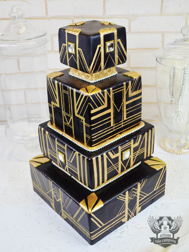 Black and Gold great gatsby wedding cake   Artisan Cake Company Black and Gold great gatsby wedding cake