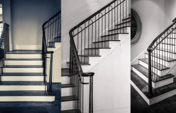 Wrought Iron Stair Railing Showcase A Classic Project Southern   Wrought Iron Stair Handrail   Classic   Wall Mounted   Outdoor   Black And Light Wood   Residential