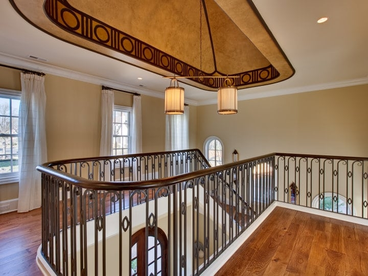 Wrought Iron Railings And Wooden Baluster Staircases Southern | Iron Railing With Wood Handrail | Stair Systems | Stair Parts | Metal | Stair | Staircase