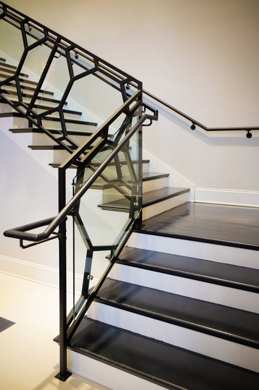 Glass Staircase Southern Staircase Artistic Stairs   Staircase Steel Railing Designs With Glass   Banister   Duplex   Button Glass   Exterior Perforated Metal   Glass Balustrade Wood Post
