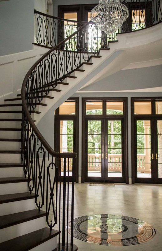 Wrought Iron Stair Railing Southern Staircase Artistic Stairs | Curved Wrought Iron Railings | Colonial | Wood | Wall Mounted | Outdoor | Veranda