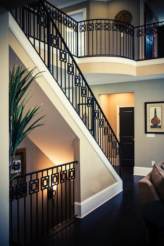 Wrought Iron Stair Railing Southern Staircase Artistic Stairs   Contemporary Banisters And Handrails   Outdoor Stair   Glass   Picket   Rustic   Traditional