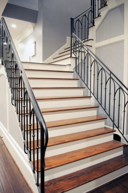 Wrought Iron Stair Railing Southern Staircase Artistic Stairs | Stair Railing Designs Interior | Exterior | Creative | Antique | Scandinavian | Rod Iron