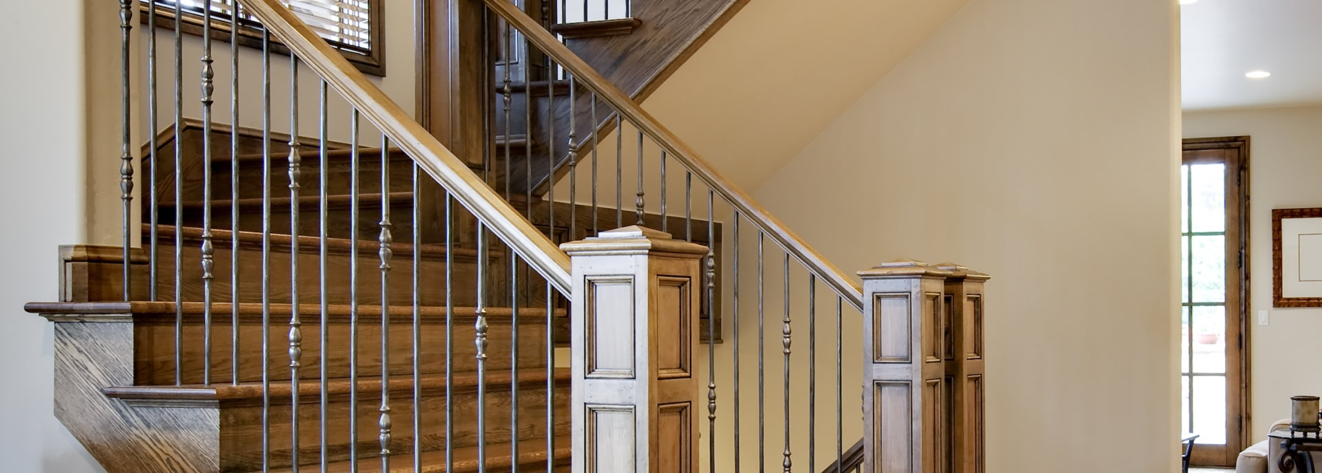 Craftsman Southern Staircase Artistic Stairs | Wood Handrail With Iron Balusters | Ash Gray | Ole Iron | Upstairs | Wrought Iron | Low Profile