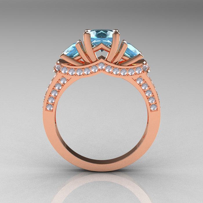 French 14k Rose Gold Three Stone Aquamarine Diamond Wedding Ring Engagement Ring R182 14krgdaq