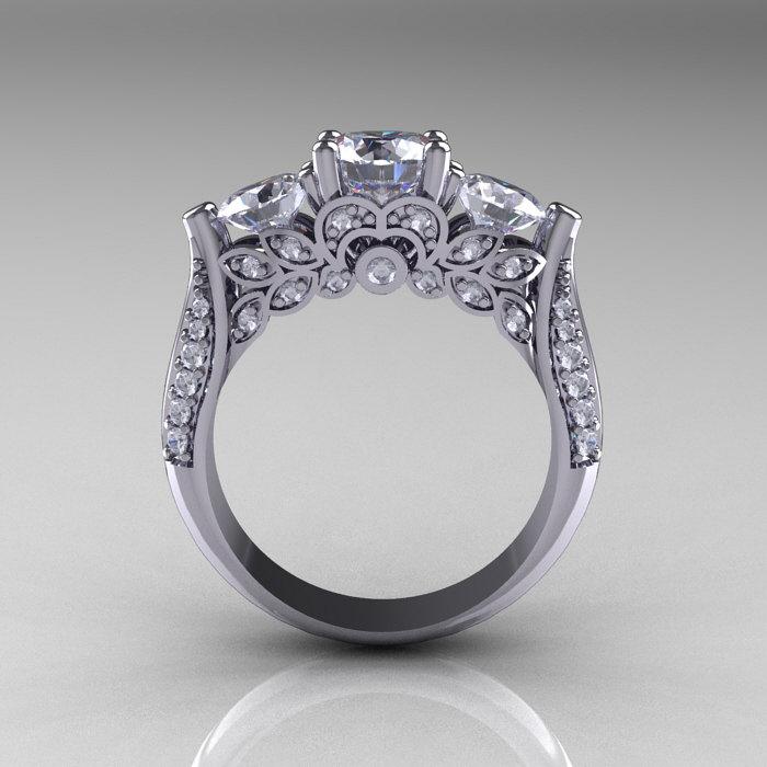 Classic 14k White Gold Three Stone Diamond Cubic Zirconia Solitaire Ring R200 14kwgdcz Art