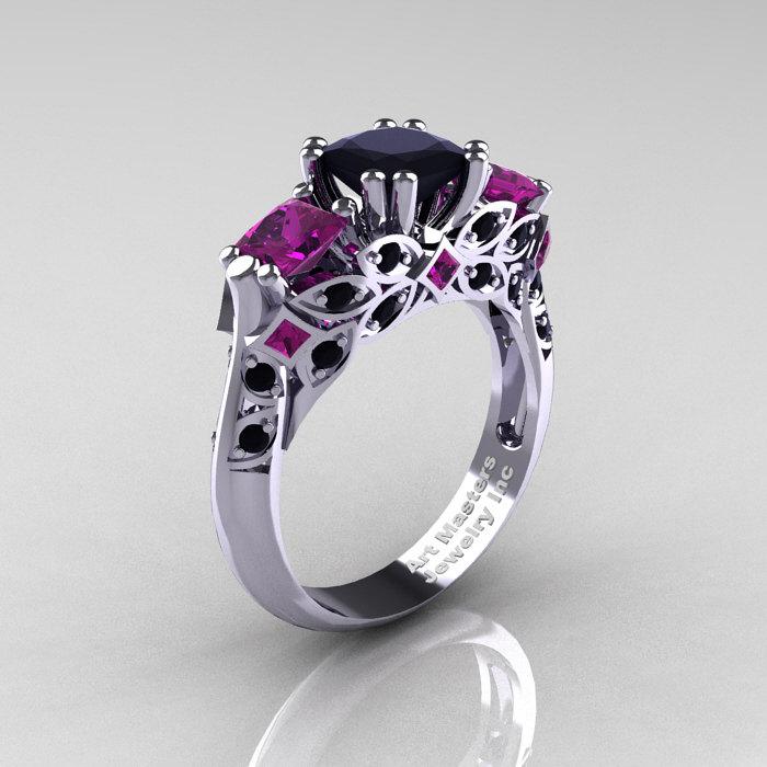 Classic 18k White Gold Three Stone Princess Black Diamond Amethyst Solitaire Ring R500 18kwgambd