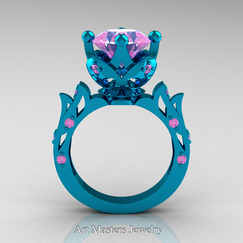 Modern Antique 14k Turquoise Gold 3 0 Carat Light Pink Sapphire Solitaire Wedding Ring R214