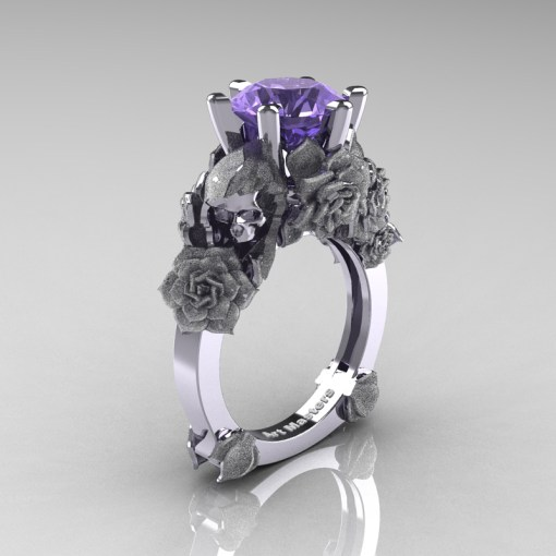 Love and Sorrow 14K White Gold 3 0 Ct Tanzanite Skull and Rose     Love and Sorrow 14K White Gold 3 0 Ct Tanzanite Skull and Rose Solitaire Engagement  Ring R713