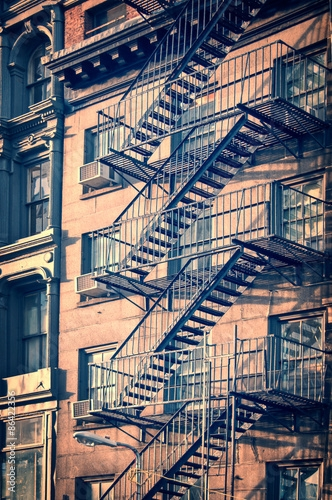 Outside Metal Fire Escape Stairs New York City Vintage Process | Metal Fire Escape Stairs For Sale | Low Poly | Stair Treads | Building | Wrought Iron | Bim Cad