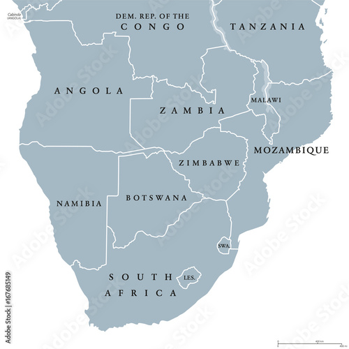 Southern Africa political map with borders of the countries and     Southern Africa political map with borders of the countries and English  labeling  The southernmost region