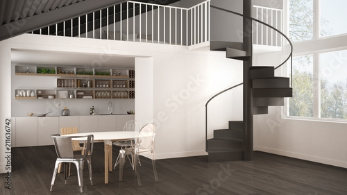 Minimalist White And Gray Kitchen With Mezzanine And Modern Spiral   Loft With Spiral Staircase   Small   Contemporary   Addition   Timber   New