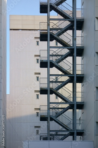 Exterior Wall Of The Building And Emergency Stairs Buy This | Staircase Exterior Wall Design | Commercial | Entrance Ceiling | Interior | Modern | Boundary Wall