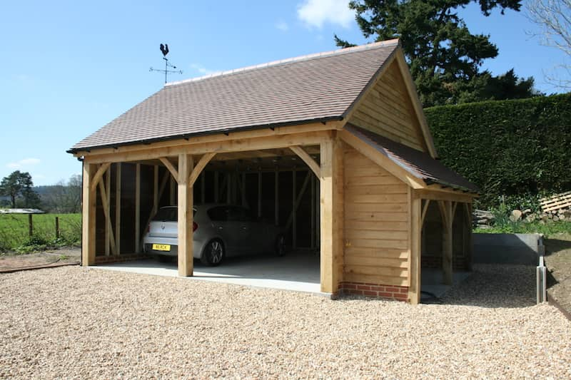 Two Bay Carport With Log Store Ascot Timber Buildings