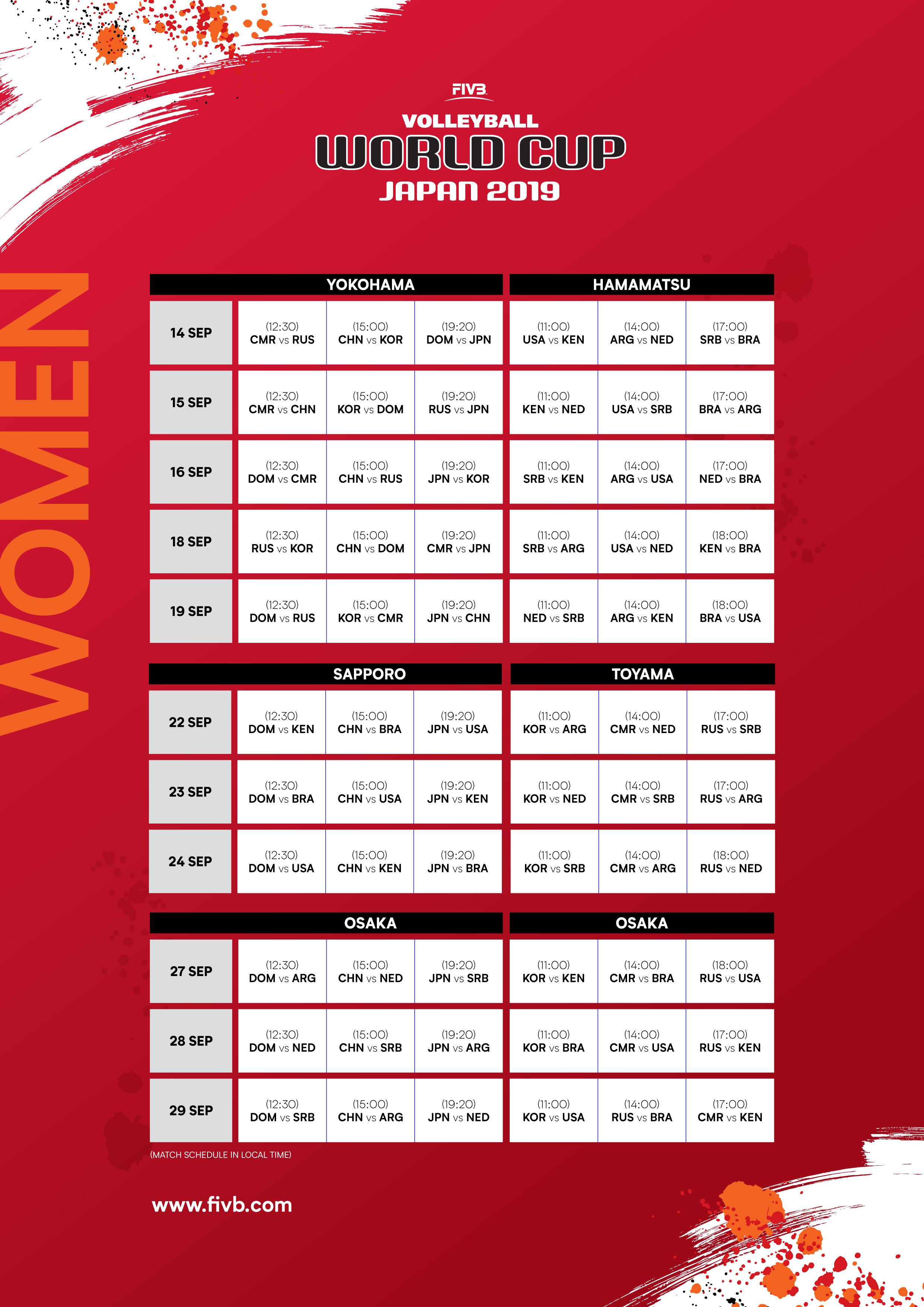 2019 FIVB WORLD CUP MATCH SCHEDULE CONFIRMED – Asian ...