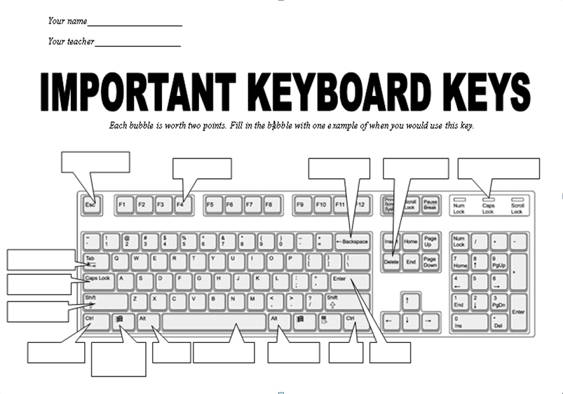 Blank Typing Keyboard Chart