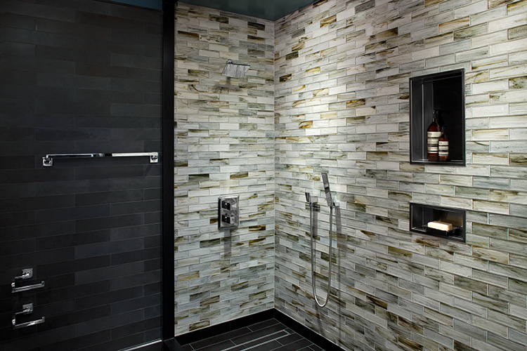 Basalt and Glass Tile Bathroom by Complete Tile Collection   ASPIRE     Basalt and Glass Tile Bathroom by Complete Tile Collection   ASPIRE DESIGN  AND HOME