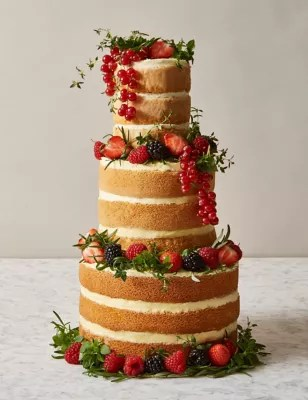 Naked Vanilla Wedding Cake   3 Tiers  Serves 42    M S Naked Vanilla Wedding Cake   3 Tiers  Serves 42