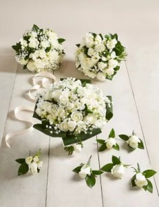 Wedding Flowers   Wedding   Bridal Bouquets Ideas   M S Quick look      White Rose   Freesia     Large Wedding Party Package