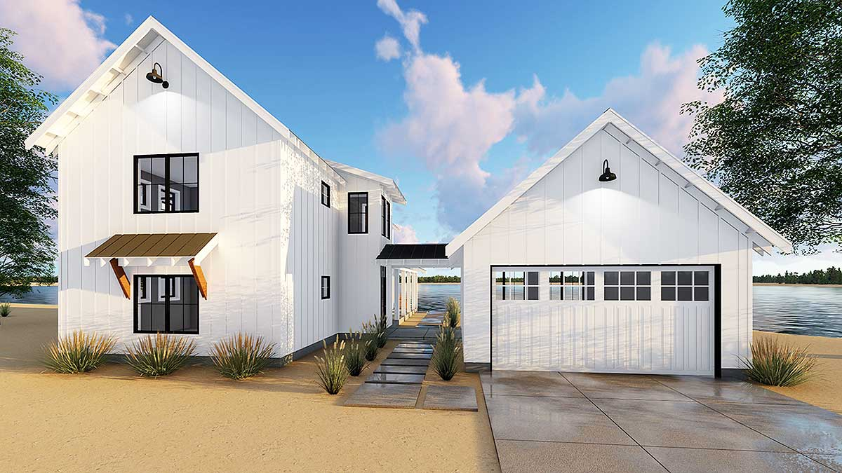 Modern Farmhouse Plan With 2 Beds And Semi Detached Garage