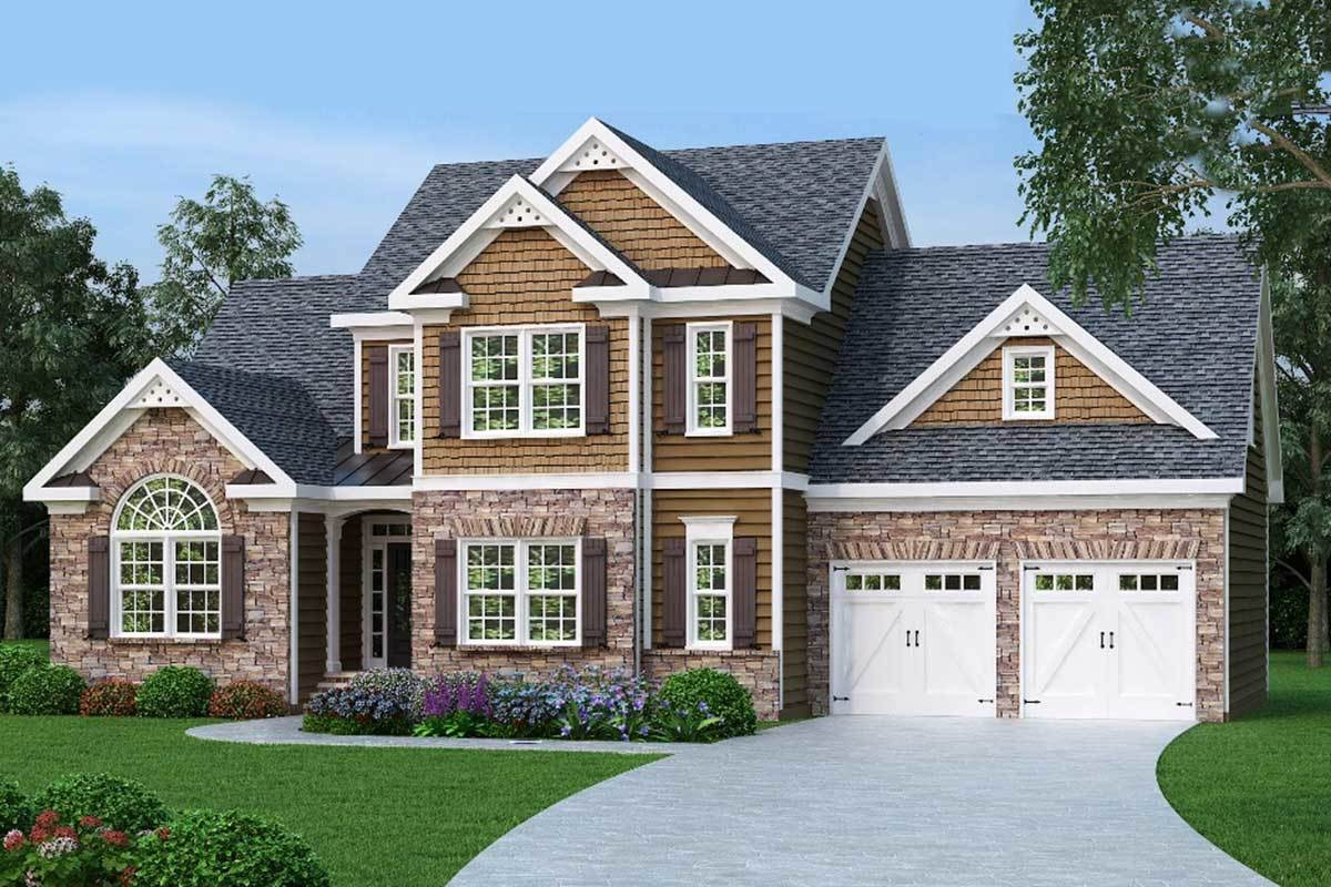 2 Story Master Down Home Plan 75402Gb Architectural Designs | 2 Story House With Stairs Outside | Dark Grey | Traditional | Roof Terrace | Unique | Covered Deck
