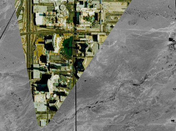 Explore an Interactive Aerial Map of the Past   Atlas Obscura The Las Vegas strip of 2013  laid over the desert of 1950