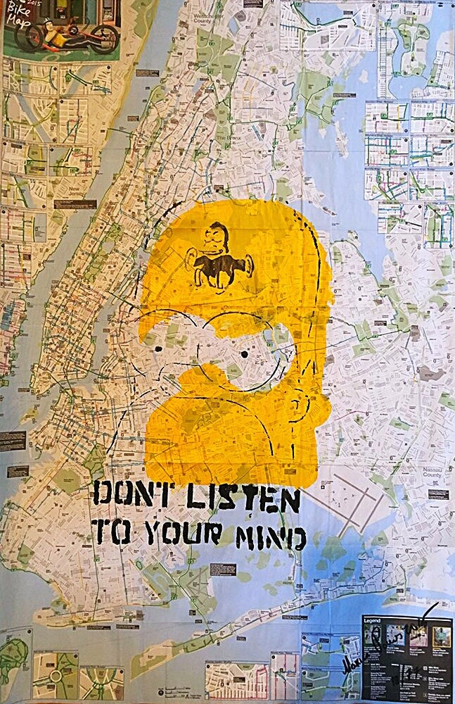 MAXINE POWERS     SIMPSONS  ORIGINAL ARTWORK  DONT LISTEN TO YOUR MIND     MAXINE POWERS     SIMPSONS  ORIGINAL ARTWORK  DONT LISTEN TO YOUR MIND   ON NEW  YORK CITY BIKE AND SUBWAY MAPS