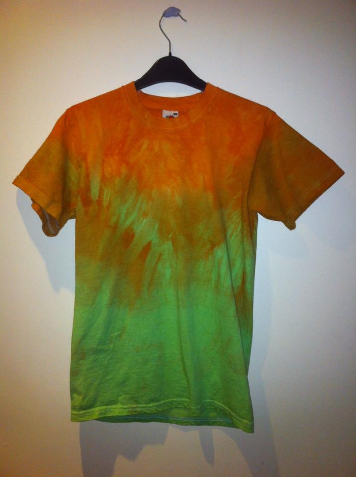 Orange And Green Tie Dye T Shirt Mount Vintage
