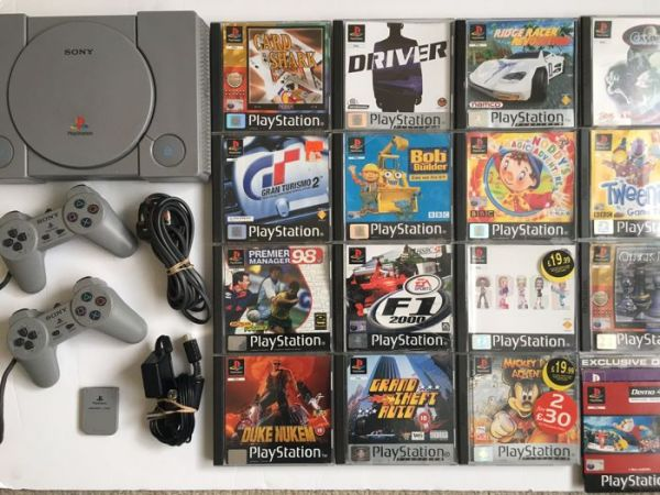 Sony PS1 Bundle   Playstation 1 with 2 Official Controllers and 15     Sony PS1 Bundle   Playstation 1 with 2 Official Controllers and 15 Classic  Games Including Grand